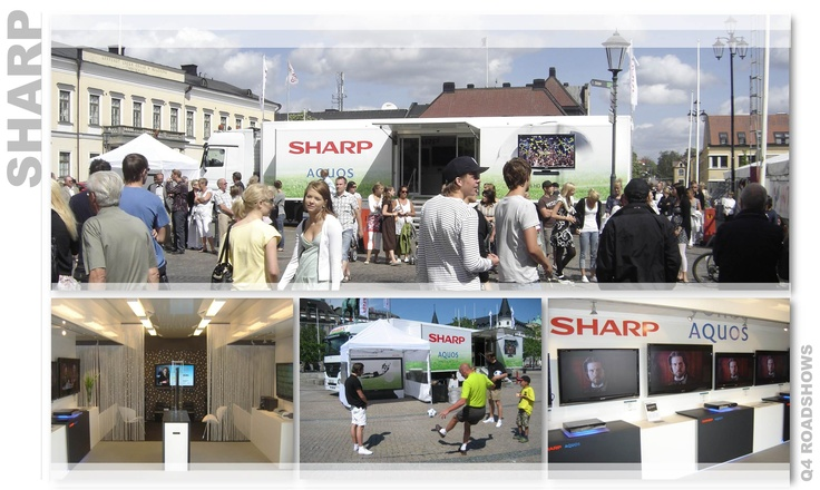 In connection to the European Football Championships, Sharp took the opportunity to endeavor on a football-inspired roadshow. By visiting different types of venues they could combine two important target groups - retailers and the general public. Consumers could experience Sharp's latest products as well as participate in various competitions. For the retailers, Sharp provided VIP events showing each evening's football game over food and drinks in their ready product exhibition.