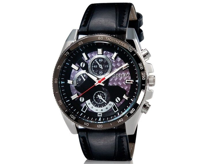 Fashion Men Special Designed Round Black Dial Analog Watch with Faux Leather Strap Wrist Watch