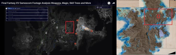 [OC] Final Fantasy XV Map Size vs Episode Duscae. Red box on the right represents full picture on the left.