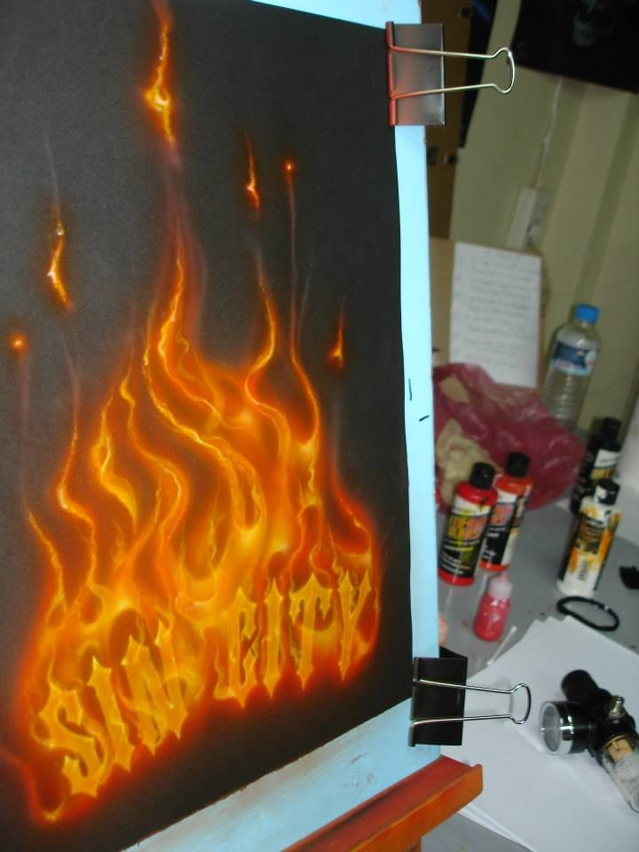 True-Fire technique!-SIN CITY logo...ON FIRE!!!