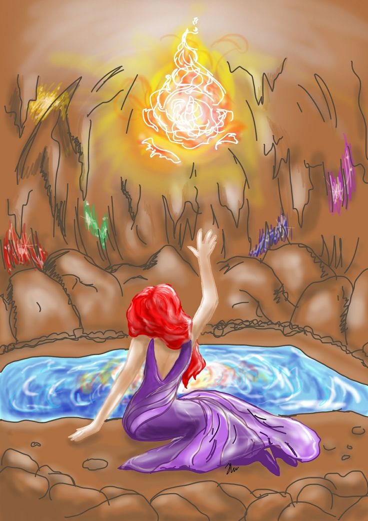 Sarafran in a cave with crystals and fire made by Helene w