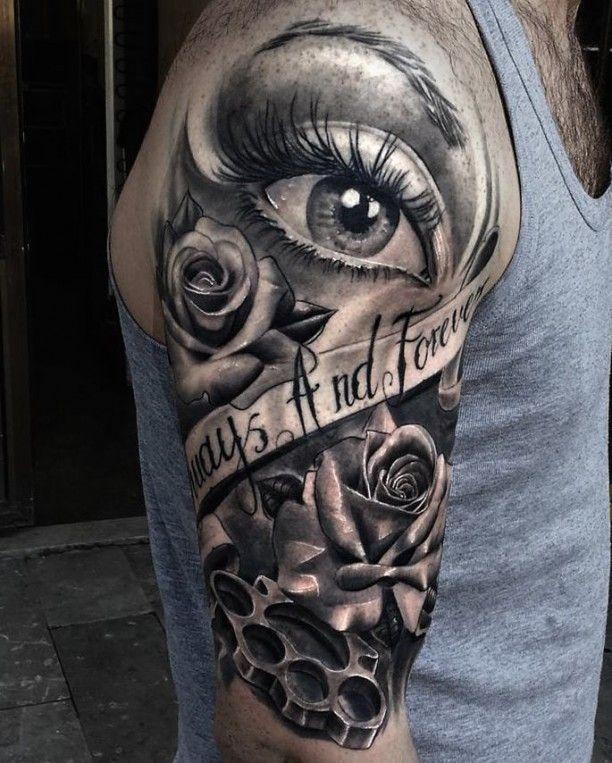 Auge Rose und Schriftband Tattoo