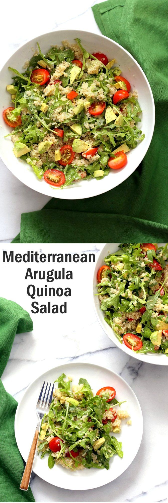 Mediterranean Quinoa Salad with Arugula, Avocado