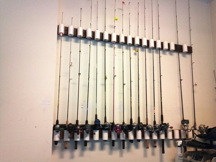 174 best images about garage ideas on pinterest sports for Homemade fishing rod storage ideas