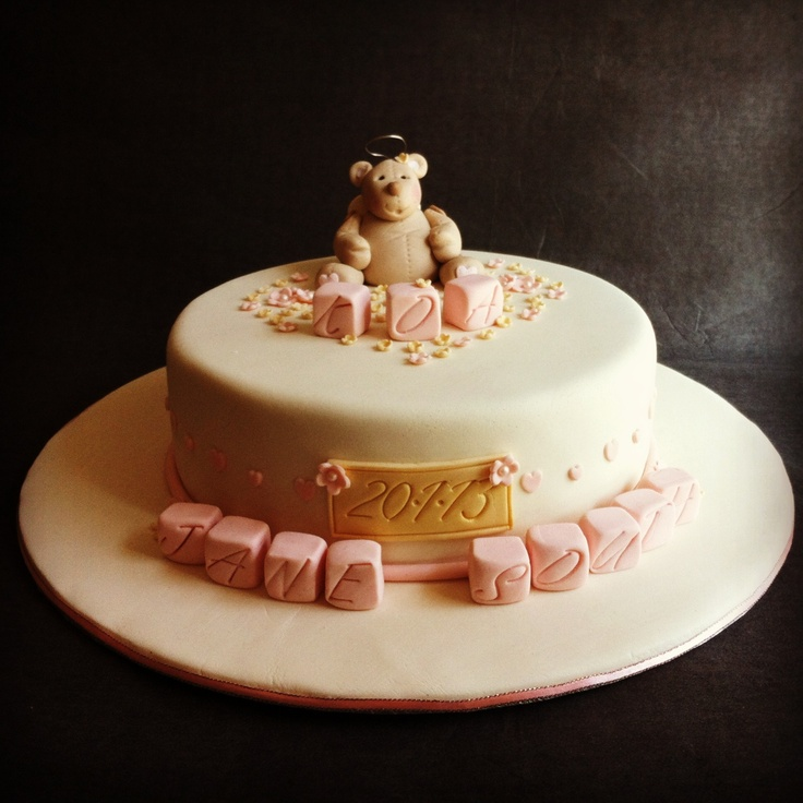 Angel Bear Naming Day Christening Cake Pink Cream And