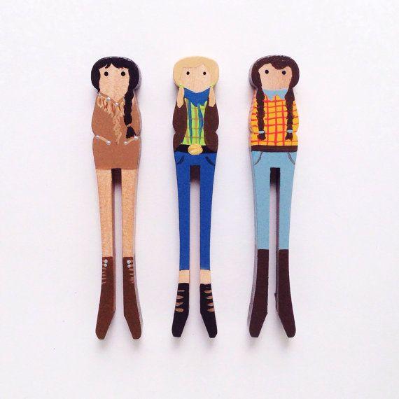 Set di tre bambole di legno molletta - Cowgirls