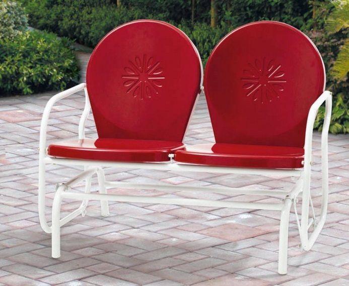 Vintage Glider Bench Outdoor Metal Retro Red 2 Seat Patio Furniture Rocker Swing Retropatioglider And Garden Redo