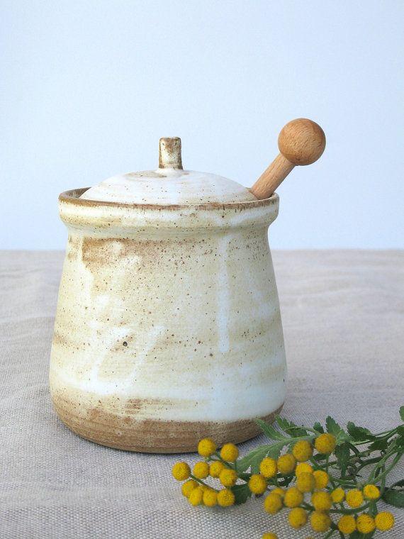 ceramic honey jar, ceramic salt cellar,sugar jar,rustic pottery,white honey jar,ceramic jam jar,pottery honey pot, ceramic jar with lid