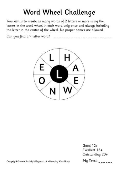 heres a new word wheel challenge for the kids to try and it has a seasonal holiday theme there are many words that you can make out of these letters so