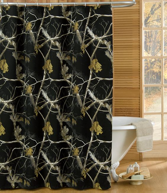 Best 25 black shower curtains ideas on pinterest black for Camo bathroom ideas