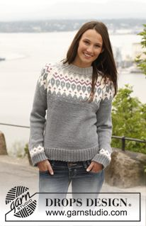 """Diamond Rose / DROPS 141-41 - Knitted DROPS jumper with raglan and pattern in """"Lima"""". Size: S - XXXL. - Free pattern by DROPS Design"""