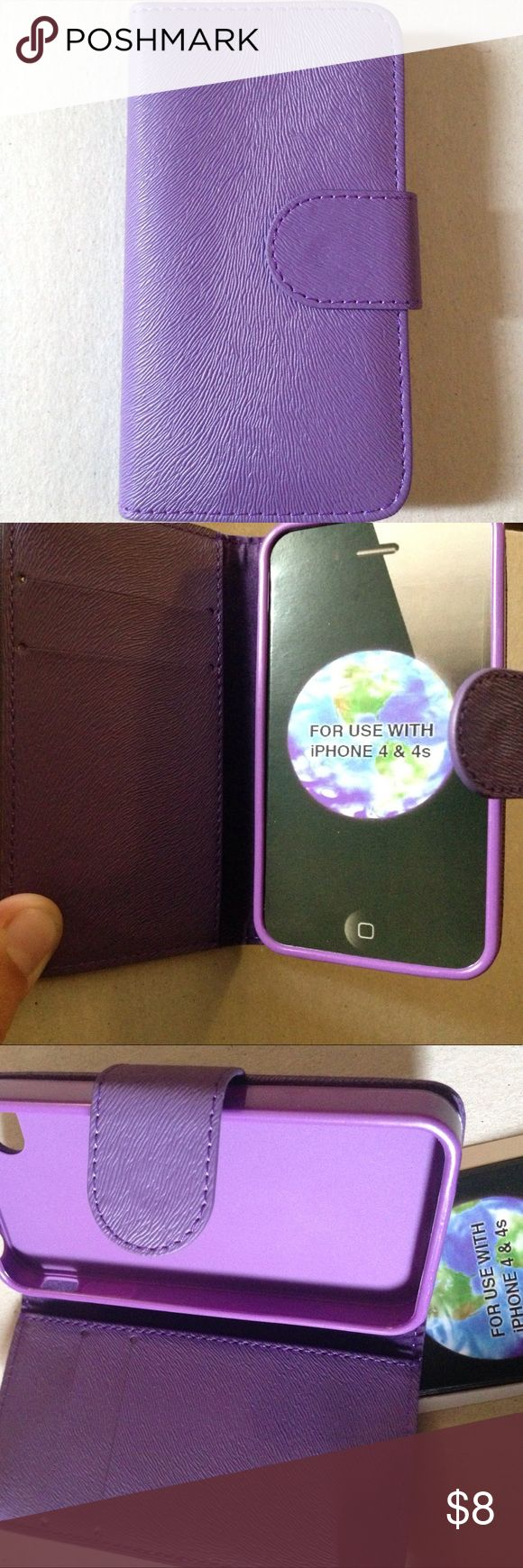 iPhone 4 & 4S wallet case with magnetic closure. BNWOT purple zebra textured magnetic closing wallet and phone case. Fits iPhone 4 & 4S. These are very convenient and stylish. I will never go back to a regular phone case after using one like this. Accessories Phone Cases