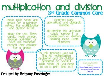 There are 40 task cards to review multiplication and division facts. The cards correlate with Common Core Standards for 3rd Grade. The students wil...: Division Facts, Division Task Cards, Math Task Cards 3Rd Grade, Common Core, 40 Task, Cards Correlate, Review Multiplication, Students Wil, Math Multiplication Division