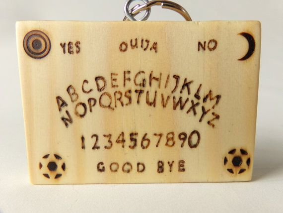 KEYRING Handmade Pyrography Design Ouija Board by S33DTrading