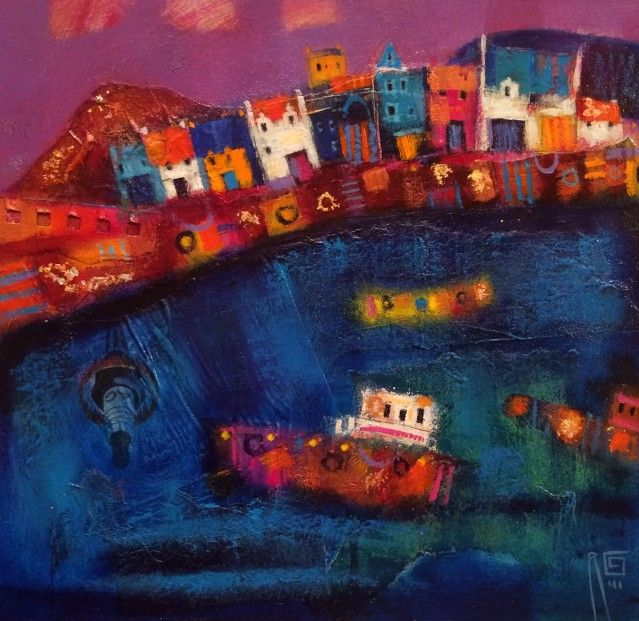 Ritchie Collins_Broughty Ferry Harbour_Mixed Media_11.5x11.5   Scottish Contemporary Art