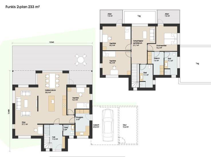 Her er tre arkitekttegnede udgangspunkter for dit 2-plans ønskehus. Resten er op til dig. Se plantegninger fo Skanlux' Funkis 2 plans serie.