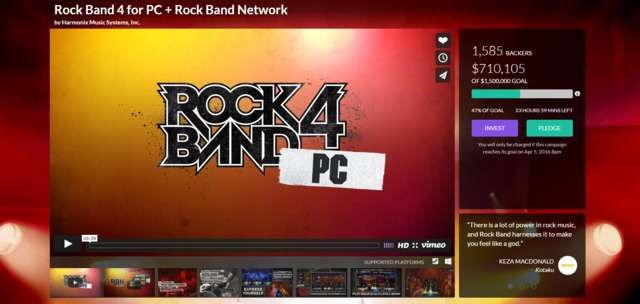 Rock Band 4 Needs to Raise Over $750,000 in 24 Hours or It's Not Coming to PC - Harmonix launched a crowdfunding campaign to bring Rock Band 4 to PC, but it has a significant hurdle to overcome. The rhythm game campaign has just 24 hours left to reach its goal, but it still needs more than $  750,000 to succeed. If it doesn't reach its goal, it may never come to... http://www.gamesreview.tvseriesfullepisodes.com/rock-band-4-needs-to-raise-over-750000-in-24-hours-or-its-