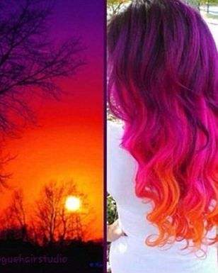 Before dark: One post shows pink tresses that fade into orange at the bottom, which mimics a breathtaking just-before-dusk image placed alongside it