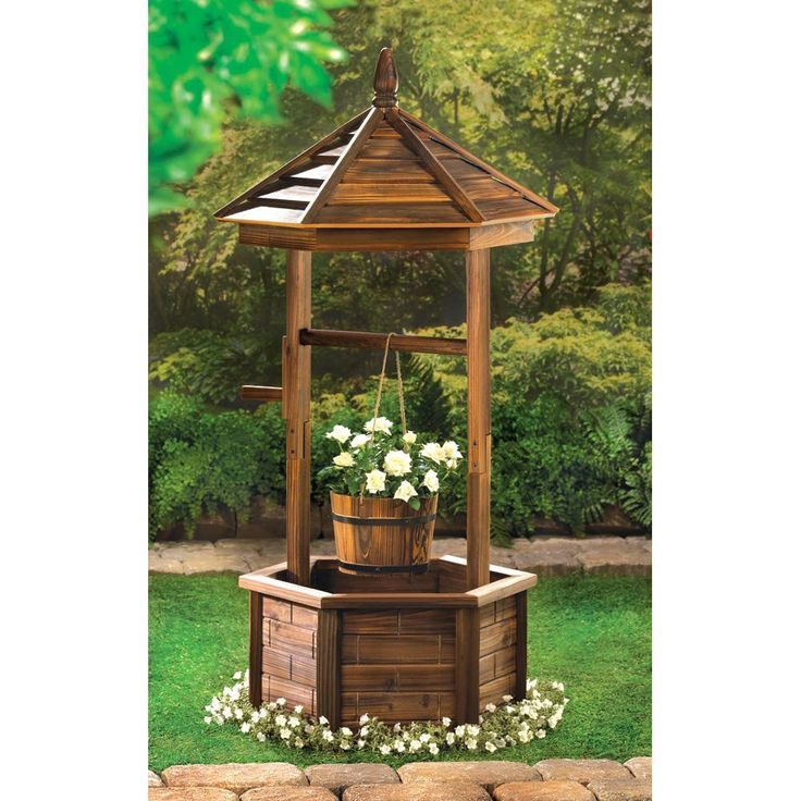Your decorating wish just came true! Natural wood wishing well adds quaint nostalgic appeal to your outdoor living space; so pretty when its bucket and base are filled with your favorite flowering pla
