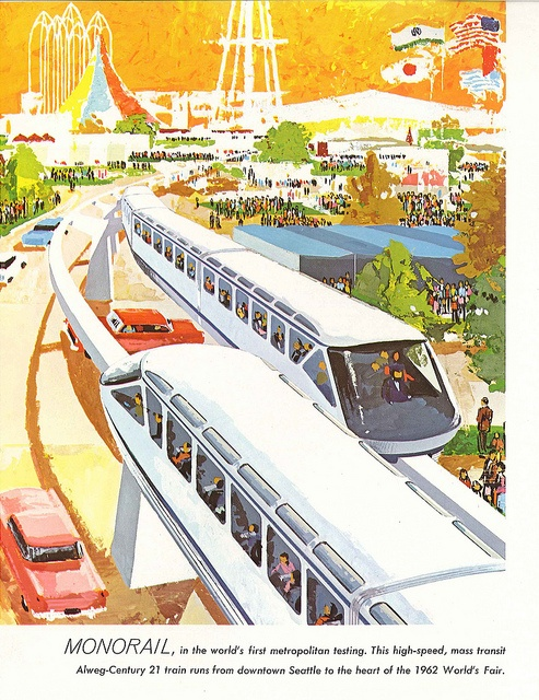 Monorail at World's Fair, 1962. The monorail is still in use and it features in the opening chapter of Seattle in Shorts, which can be read on the Look Inside of book page on Amazon.