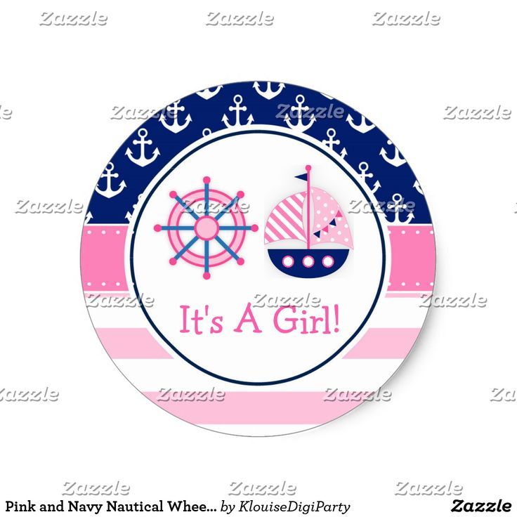 Pink and Navy Nautical Wheel It's A Girl Classic Round Sticker