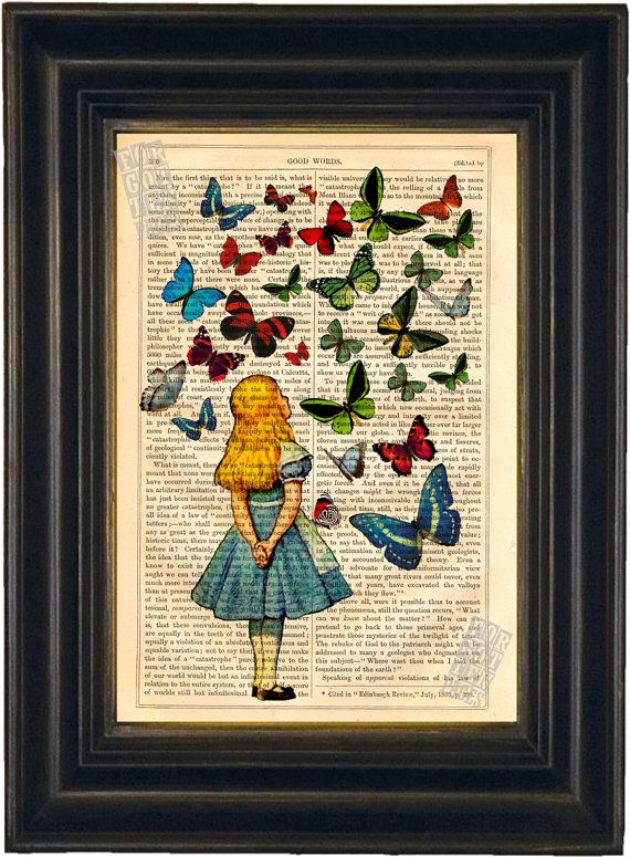 Alice Watching Butterflies mixed media Print on upcycled Vintage Page Book Art or Encyclopedia Page