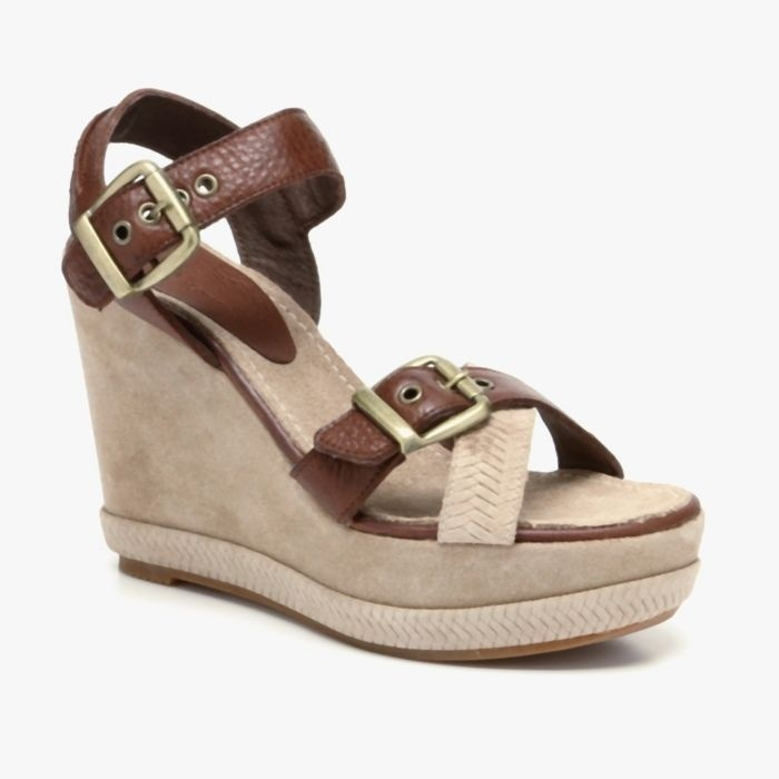 Brown Leather Wedge