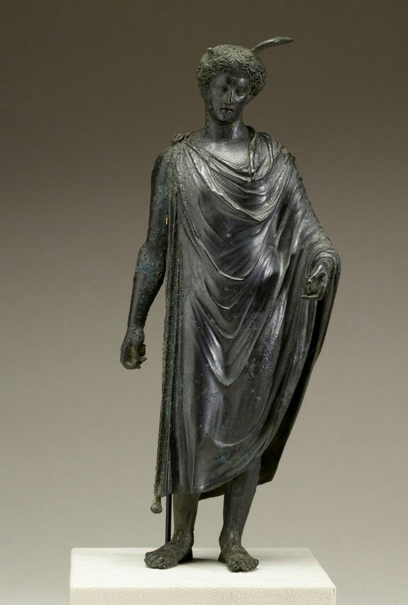 Cast bronze statuette of Mercury with silver coat and inlay. A.D. 40-80 [Julio-Claudian (?); Flavian (?)]. | The Walters Art Museum