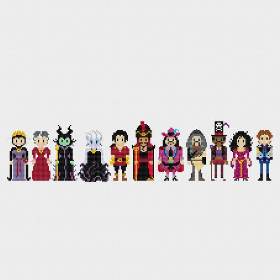 Disney Princess Villains Cross Stitch Pattern PDF Instant Download