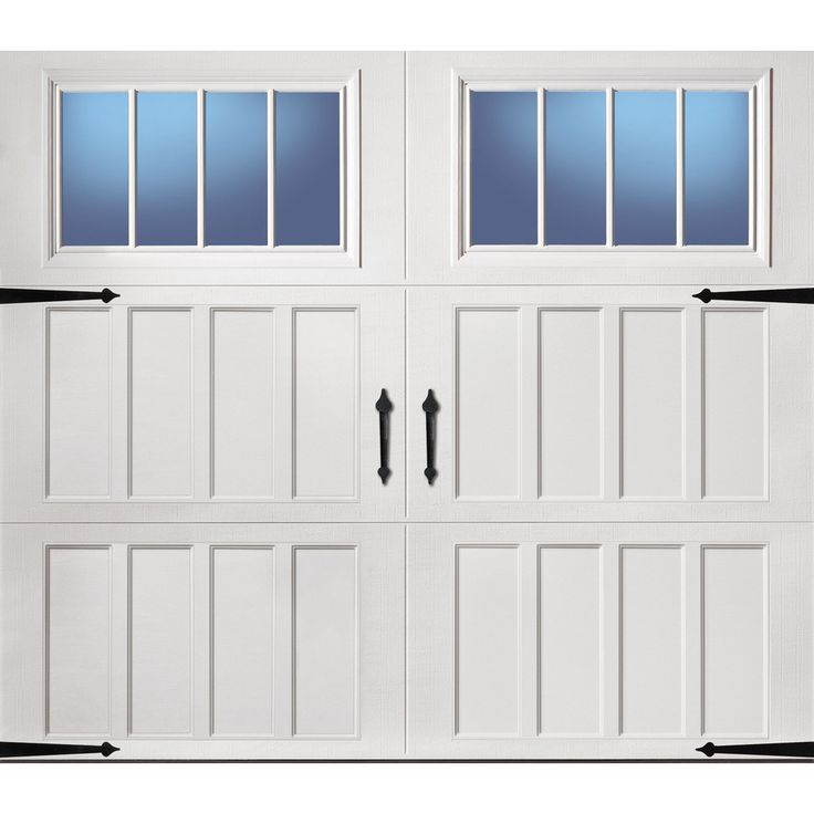 Shop Pella Carriage House Series 8-ft x 7-ft Insulated White Single Garage Door with Windows at Lowes.com