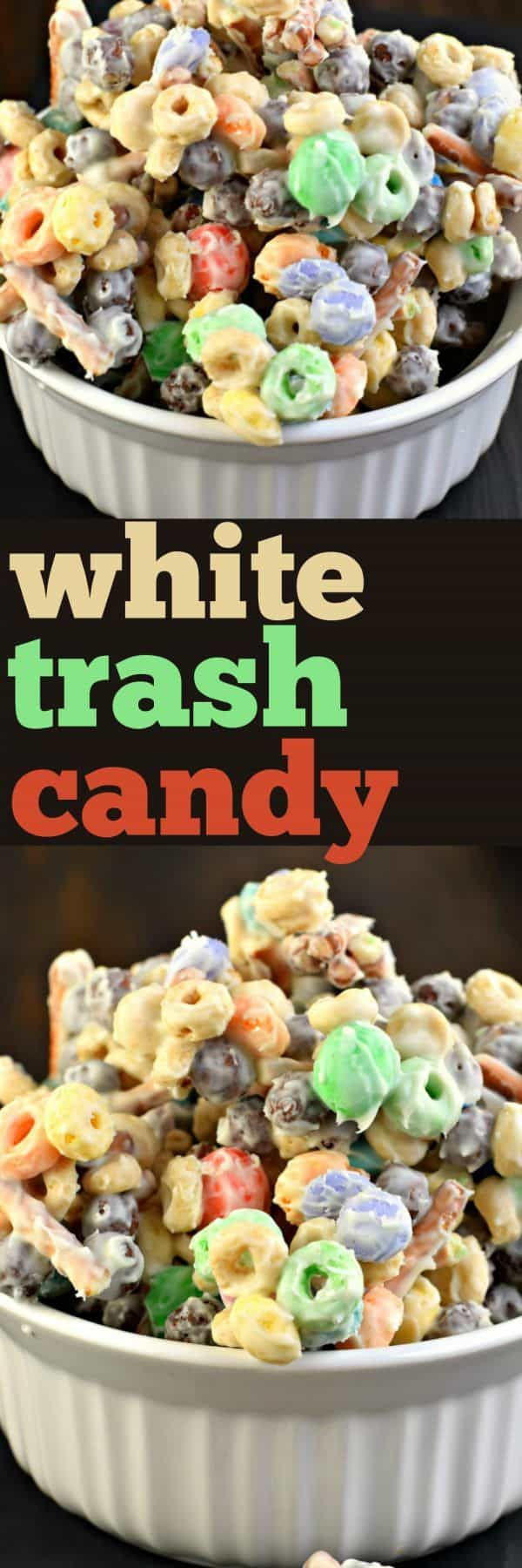 To make this easy white trash candy, just toss together some cereal, pretzels, m&m's and melted white chocolate.