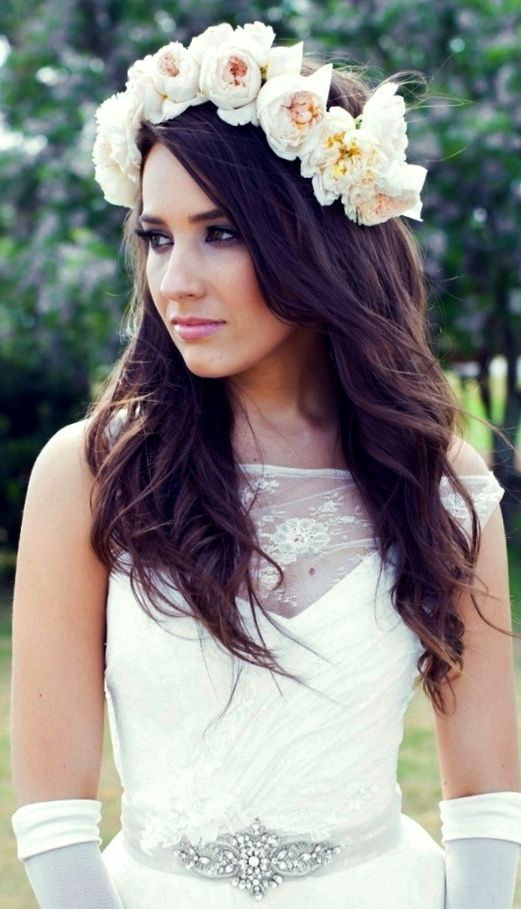 Wedding Hairstyle With Crown : Bride s down wedding hairstyle with flower crown