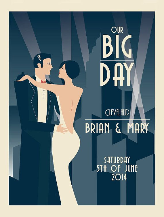 art deco wedding print Wedding Present Unique by ConsiderGraphics