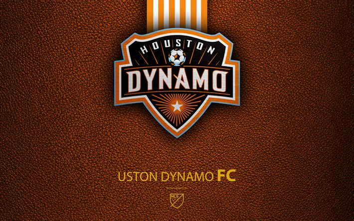 Download wallpapers Houston Dynamo FC, 4K, American Soccer Club, MLS, leather texture, logo, emblem, Major League Soccer, Houston, Texas, USA, football, MLS logo