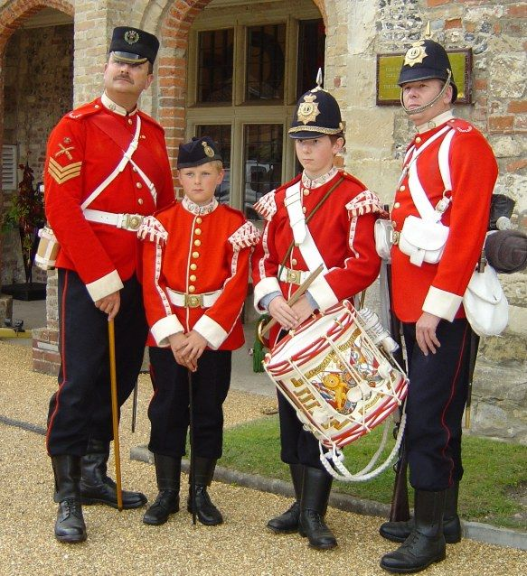 Members of the Diehards a reenactment group depicting the Infantry of Queen Victoria's reign, in particular the Middlesex regiment and its predecessors the 57th & 77th Foot. Here shown in home service dress c.1886