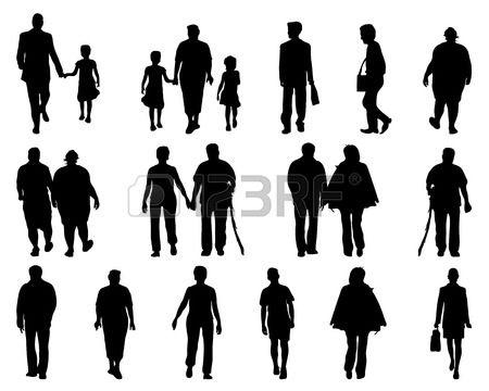 silhouettes of people walking vector art pinterest