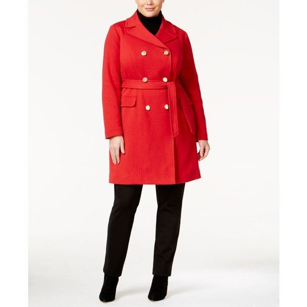 Inc International Concepts Plus Size Double-Breasted Coat, (€75) ❤ liked on Polyvore featuring plus size women's fashion, plus size clothing, plus size outerwear, plus size coats, real red, long red coat, inc international concepts coat, white coat, red double breasted coat and plus size red coat