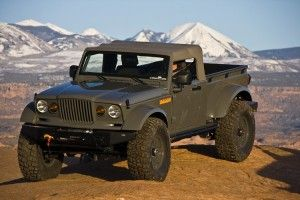 Mopar revealed the Jeep Nukizer 715 image vehicle at the 44th annual Easter Jeep Safari in Moab, Utah. The Jeep Nukizer 715 is an all-purpose truck that pays homage to the beloved military-only Kaiser M-715 truck. With a military-issue Jeep J8 four-door, the Mopar team converted the vehicle into a pickup body style by adding an aftermarket AEV Brute pickup box built for a TJ. To increase the size of the vehicle, the wheelbase is stretched to 124 inches from 116 inches.
