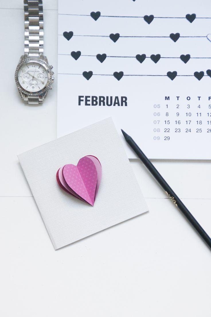 Valentines card made by Designparken. Paper fun :-)  Calendar 2016 made by me www.designparken.com