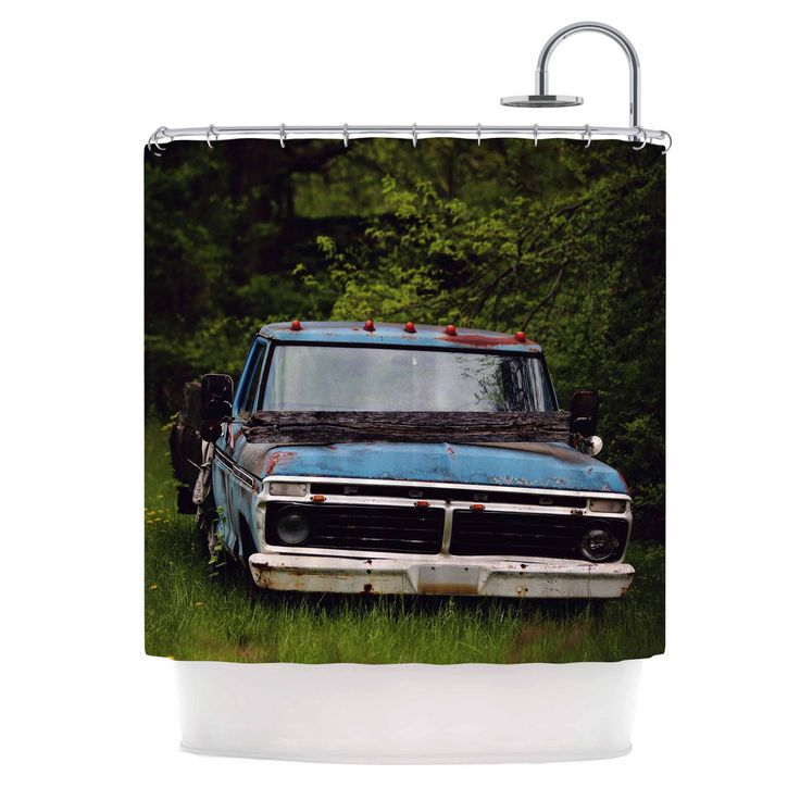 "Angie Turner ""Old Ford Truck"" Blue Digital Shower Curtain"