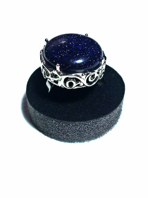 Gothic Filigree Ring Blue Medieval Ring Round Cocktail Ring Solitaire Ring Adjustable Ring Gothic Jewelry