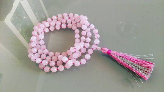 Guarda questo articolo nel mio negozio Etsy https://www.etsy.com/it/listing/483564240/mala-108-grani-in-quarzo-rosa