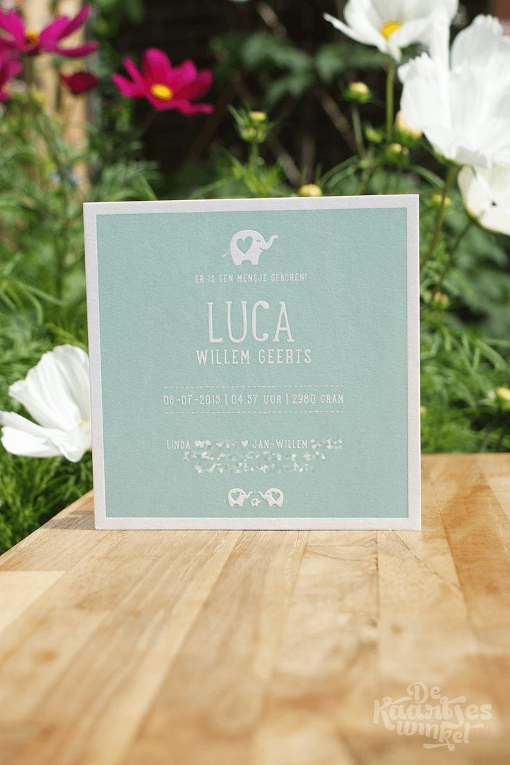 Letterpress geboortekaartje – Luca