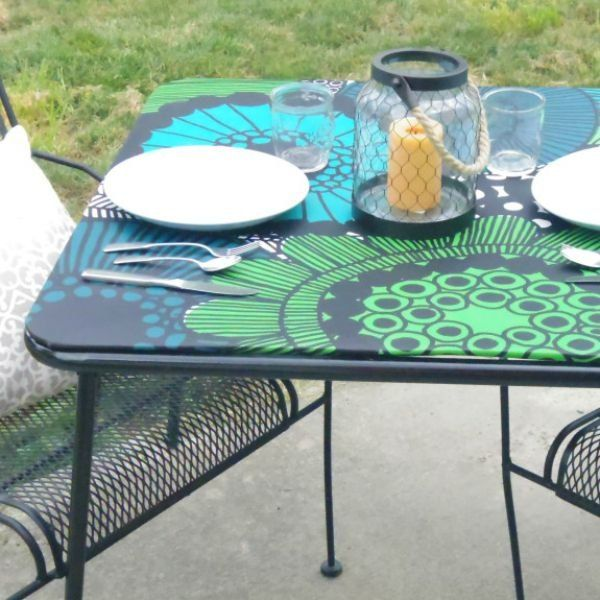 s 9 ways to make your home look amazing using fabric, home decor, reupholster, Recover a Trashed Table in Outdoor Fabric