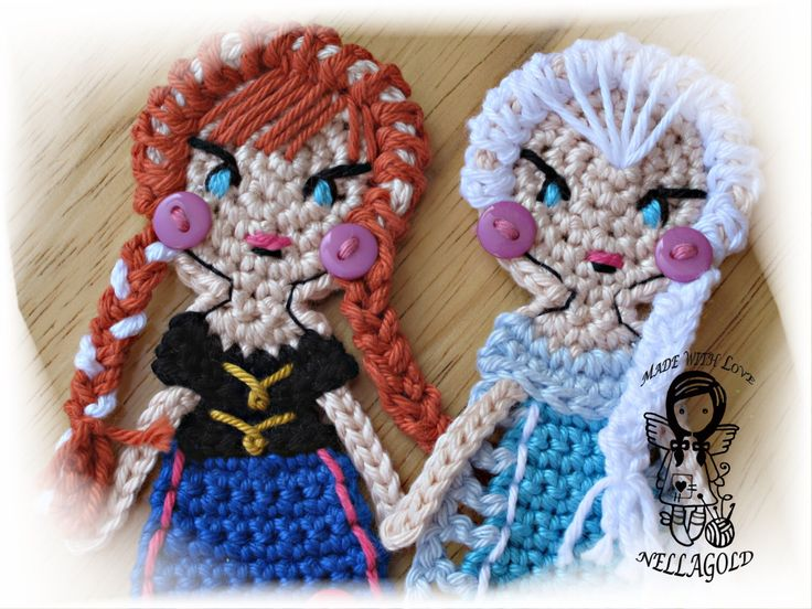 Crochet PATTERN, FROZEN, Applique, Princess Anna, Queen Elsa, Special deal 2in1, DIY Patterns 113 and 114 by NellagoldsCrocheting on Etsy https://www.etsy.com/au/listing/226919748/crochet-pattern-frozen-applique-princess