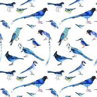 Pattern with kingfishers and other blue birds.