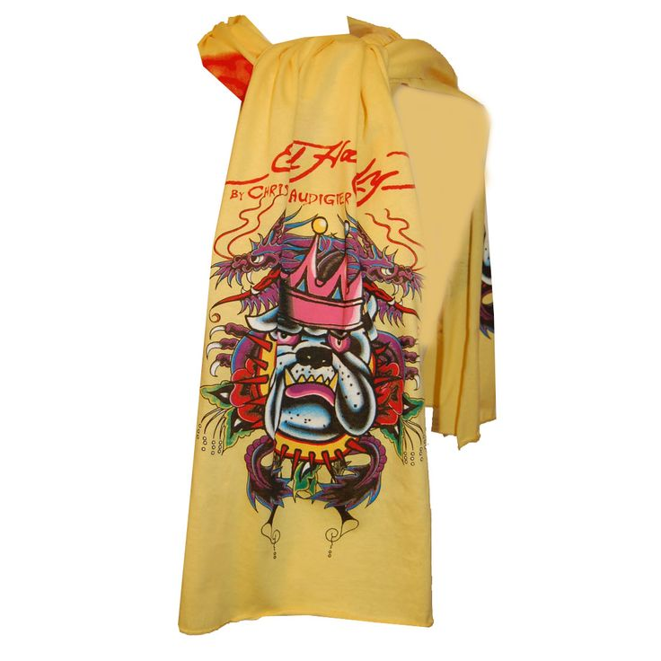 Ed Hardy Kids Bulldog Jersey Scarf – Yellow