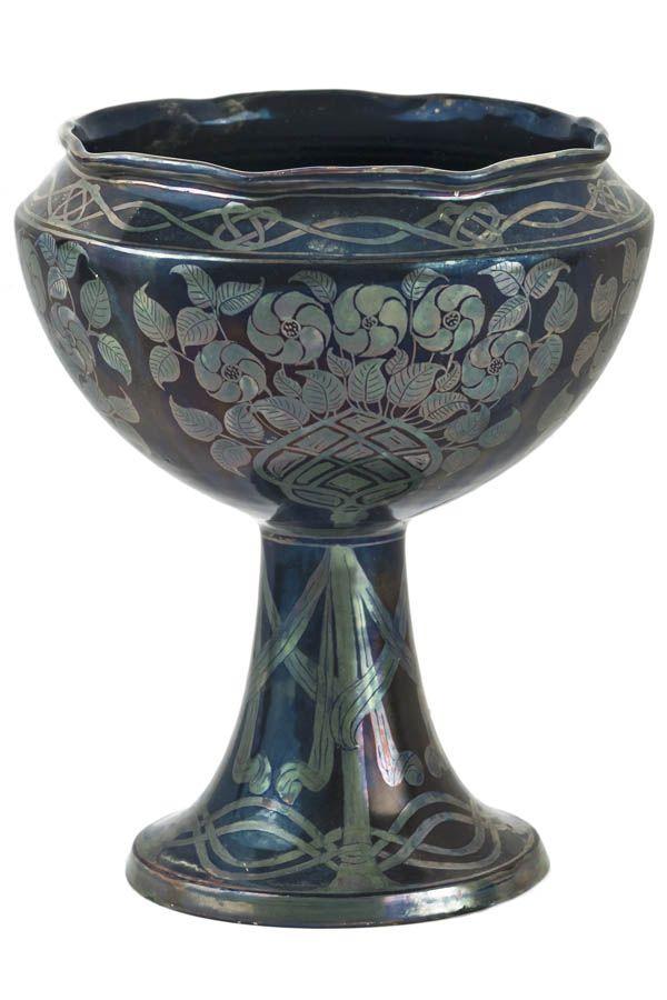 Galileo Chini - Coppa con rose e nastri - 1900 ca. - Manifattura Arte della Ceramica - Collezione privata
