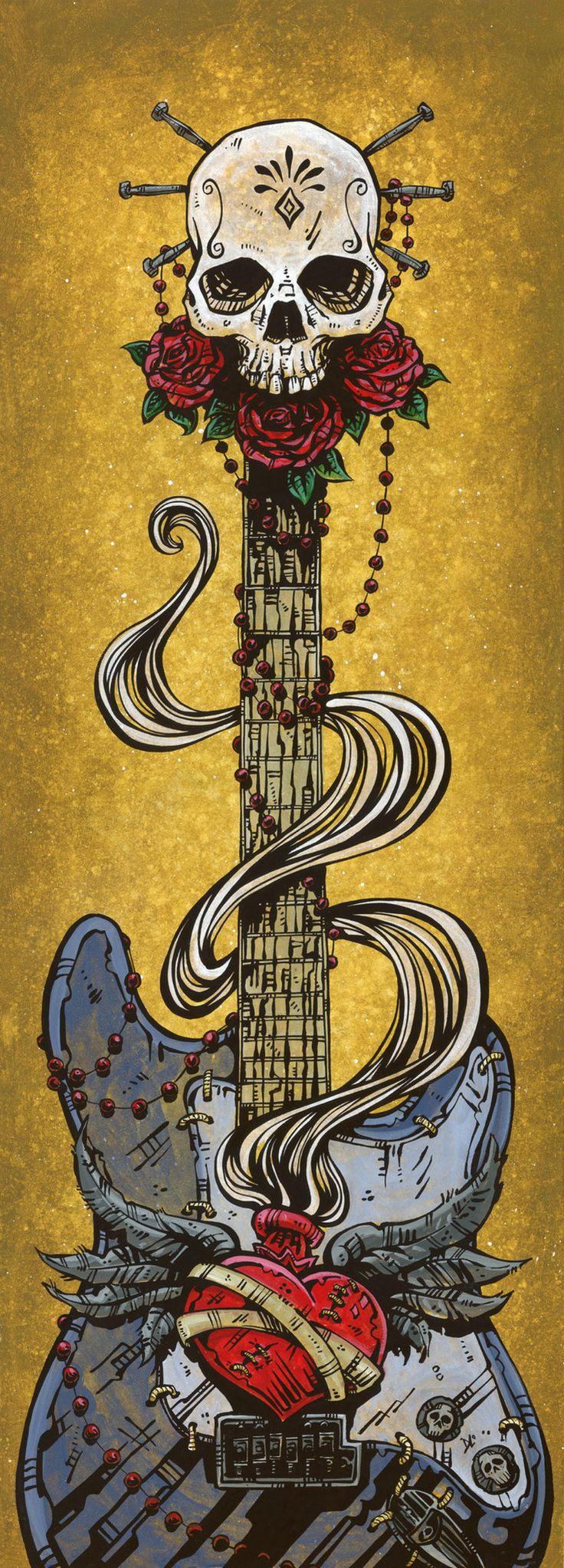 Day of the Dead Artist David Lozeau, Day of the Dead Strat, David Lozeau Dia de los Muertos Art - 1