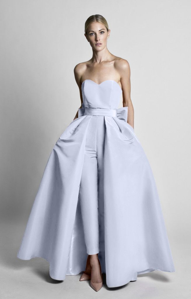 555246fed9d1 Silk Faille Bow Back Jumpsuit with Convertible Skirt